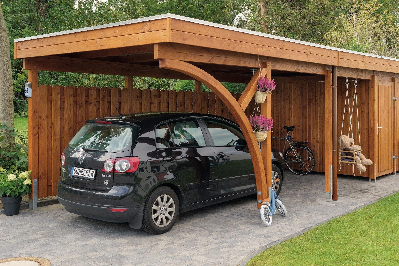 SCHEERER Carport Variant 3x9 M Bausseitig Lasiert